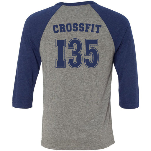 CrossFit I35 - 202 - Athletic Navy - Bella + Canvas - Men's Three-Quarter Sleeve Baseball T-Shirt