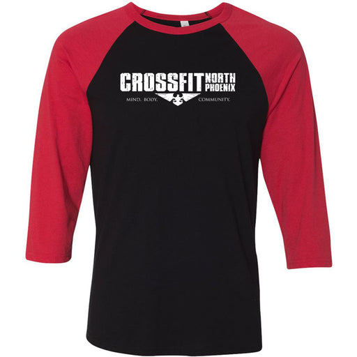 CrossFit North Phoenix - 202 - Distressed - Bella + Canvas - Men's Three-Quarter Sleeve Baseball T-Shirt
