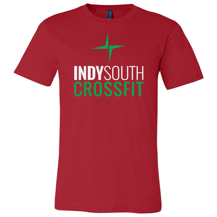 Indy South CrossFit - 100 - Stacked White - Bella + Canvas - Men's Short Sleeve Jersey Tee