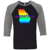 CrossFit Rx - 100 - Atari - Bella + Canvas - Men's Three-Quarter Sleeve Baseball T-Shirt