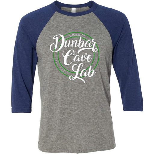 CrossFit Dunbar Cave Lab - 100 - Script - Bella + Canvas - Men's Three-Quarter Sleeve Baseball T-Shirt