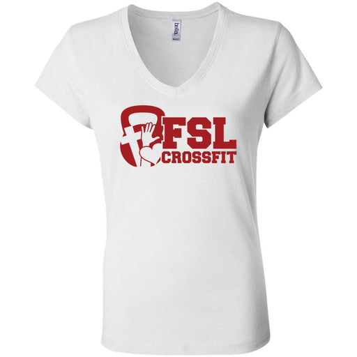 FSL CrossFit - 100 - Red - Bella + Canvas - Women's Short Sleeve Jersey V-Neck Tee