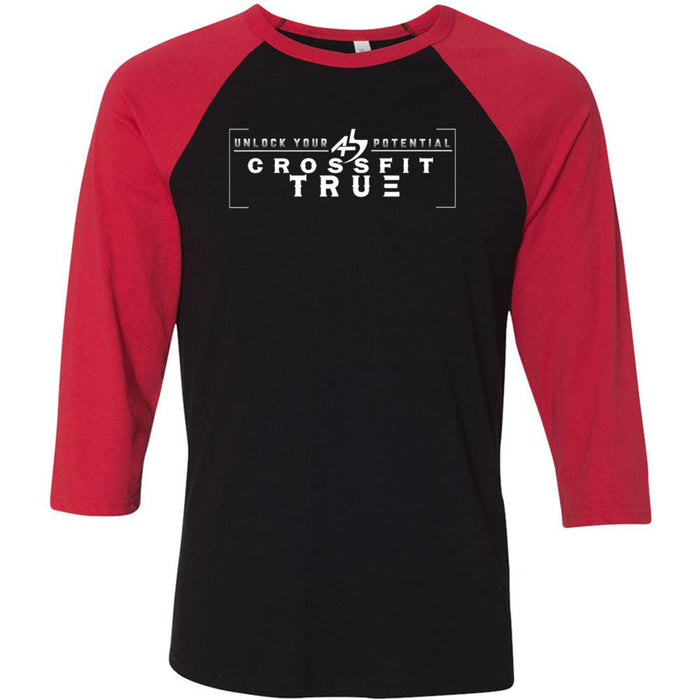 CrossFit True - 100 - Unlock Your Potential - Bella + Canvas - Men's Three-Quarter Sleeve Baseball T-Shirt