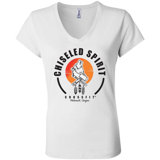 Chiseled Spirit CrossFit - 100 - Stacked - Bella + Canvas - Women's Short Sleeve Jersey V-Neck Tee