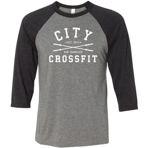 The City CrossFit - 202 - Athletic - Bella + Canvas - Men's Three-Quarter Sleeve Baseball T-Shirt