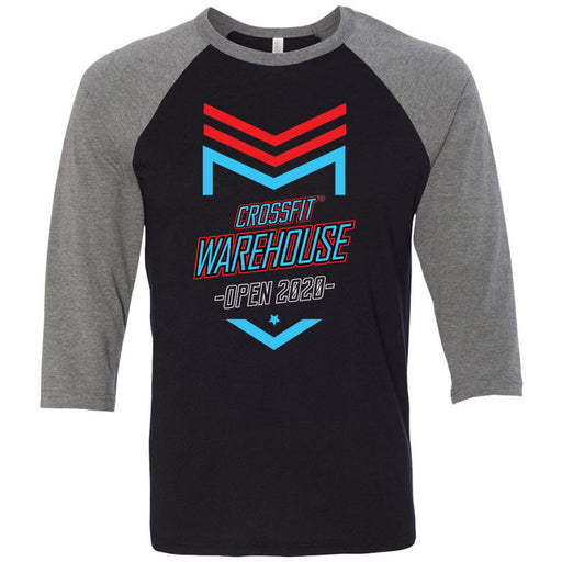 CrossFit Warehouse - 100 - 2020 Open - Bella + Canvas - Men's Three-Quarter Sleeve Baseball T-Shirt