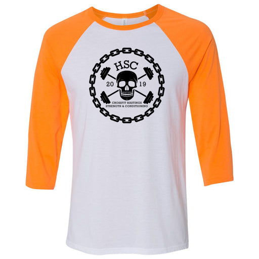 CrossFit HSC - 100 - Skull - Bella + Canvas - Men's Three-Quarter Sleeve Baseball T-Shirt