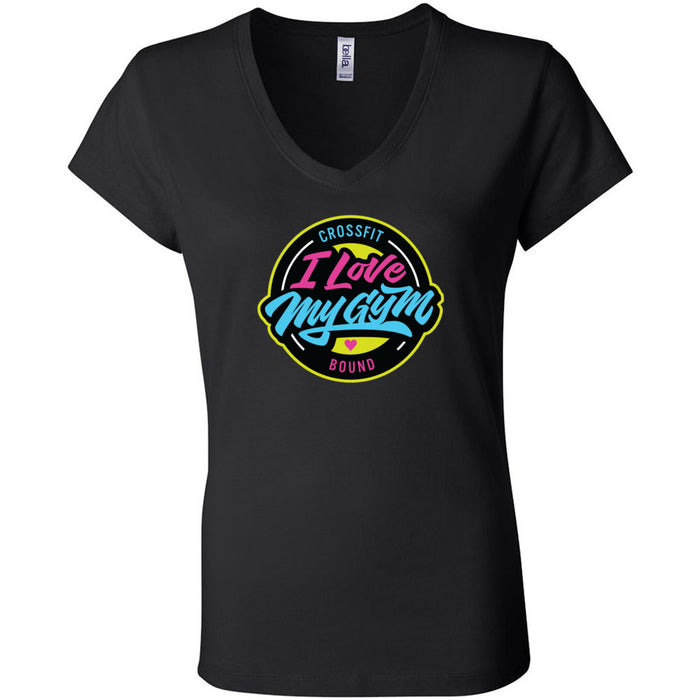 CrossFit Bound - 100 - I Love My Gym - Bella + Canvas - Women's Short Sleeve Jersey V-Neck Tee