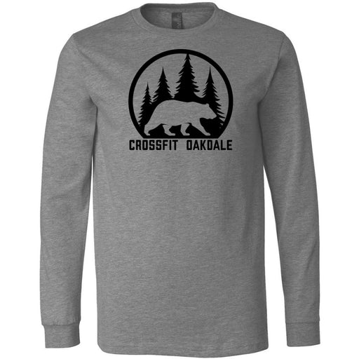 CrossFit Oakdale - 100 - Calibear Black - Bella + Canvas 3501 - Men's Long Sleeve Jersey Tee