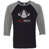 CrossFit Trackside - 100 - Standard - Bella + Canvas - Men's Three-Quarter Sleeve Baseball T-Shirt