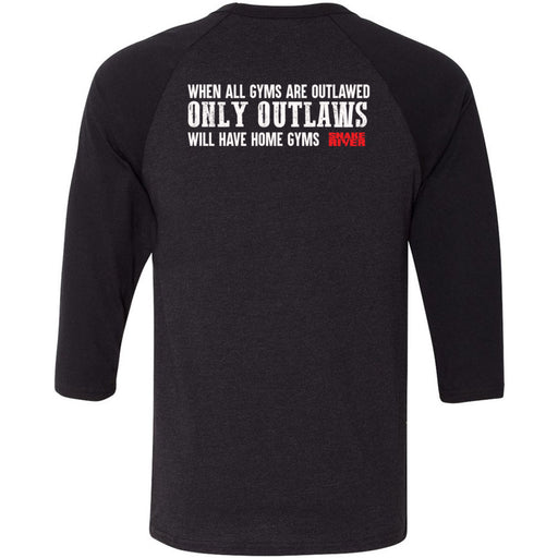 Snake River CrossFit - 202 - Outlaw 2 - Bella + Canvas - Men's Three-Quarter Sleeve Baseball T-Shirt