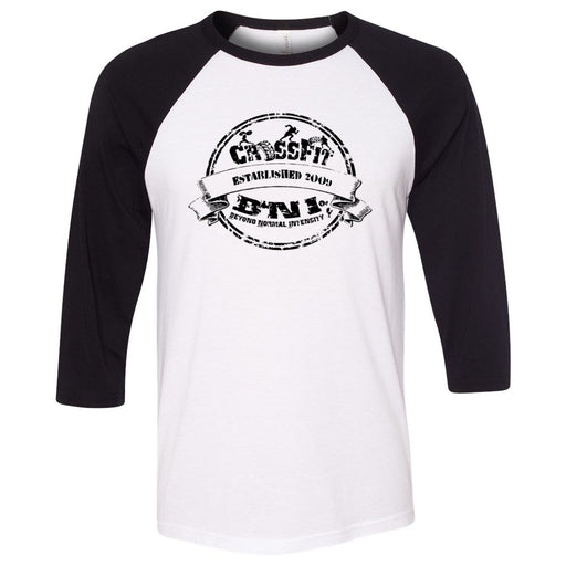 CrossFit BNI - 100 - EST 2009 - Bella + Canvas - Men's Three-Quarter Sleeve Baseball T-Shirt