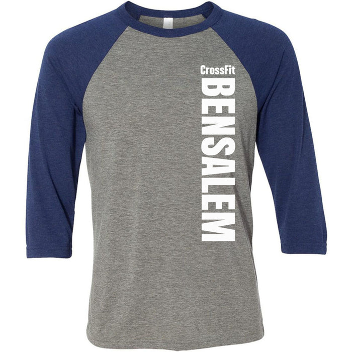 Crossfit Bensalem - 100 - Vertical - Bella + Canvas - Men's Three-Quarter Sleeve Baseball T-Shirt