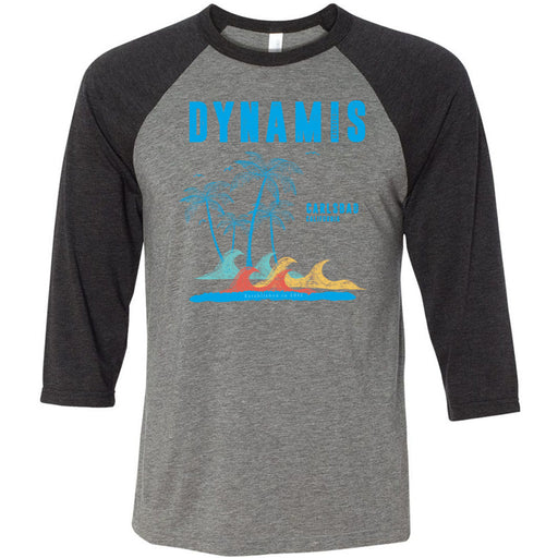 Dynamis CrossFit - 100 - Palm Tree Blue - Bella + Canvas - Men's Three-Quarter Sleeve Baseball T-Shirt