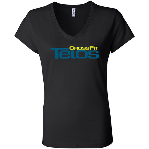 CrossFit Telos - 100 - Stacked - Bella + Canvas - Women's Short Sleeve Jersey V-Neck Tee