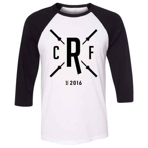 CrossFit Rolesville - 202 - Barbell - Bella + Canvas - Men's Three-Quarter Sleeve Baseball T-Shirt