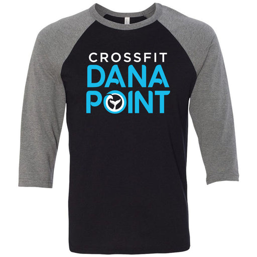 CrossFit Dana Point - 100 - Standard - Bella + Canvas - Men's Three-Quarter Sleeve Baseball T-Shirt