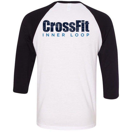 CrossFit Inner Loop - 202 - Round - Bella + Canvas - Men's Three-Quarter Sleeve Baseball T-Shirt