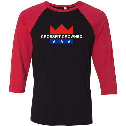 CrossFit Crowned - 100 - Standard - Bella + Canvas - Men's Three-Quarter Sleeve Baseball T-Shirt