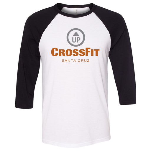 CrossFit Up - 100 - Stacked Santa Cruz - Bella + Canvas - Men's Three-Quarter Sleeve Baseball T-Shirt