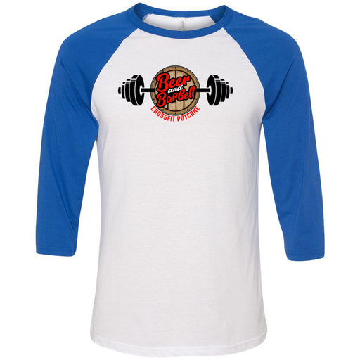 CrossFit Potcake - 100 - Beer and Barbell - Bella + Canvas - Men's Three-Quarter Sleeve Baseball T-Shirt