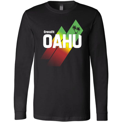 CrossFit Oahu - 202 - Sunrise Rasta - Bella + Canvas 3501 - Men's Long Sleeve Jersey Tee
