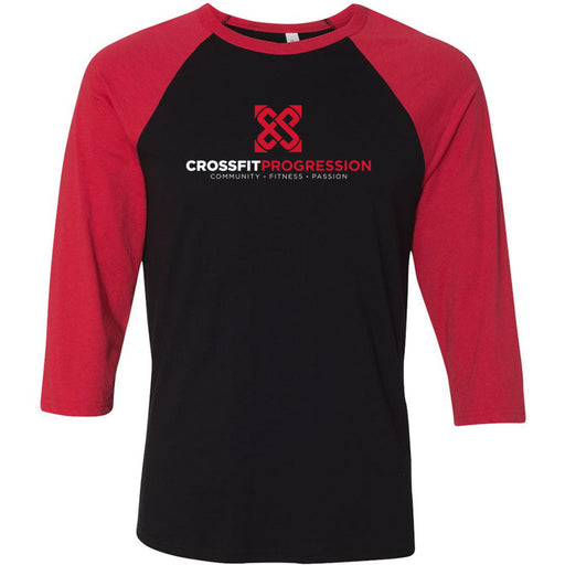 CrossFit Progression - 100 - Standard - Bella + Canvas - Men's Three-Quarter Sleeve Baseball T-Shirt