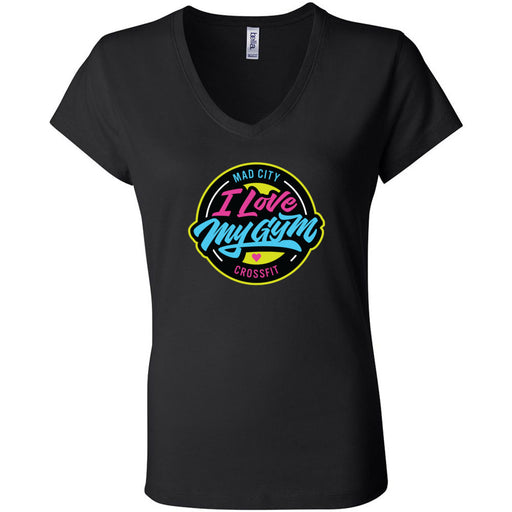 Mad City CrossFit - 100 - I Love My Gym - Bella + Canvas - Women's Short Sleeve Jersey V-Neck Tee