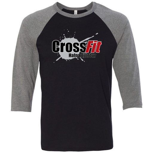 CrossFit Hafnarfjord - 100 - Standard - Bella + Canvas - Men's Three-Quarter Sleeve Baseball T-Shirt