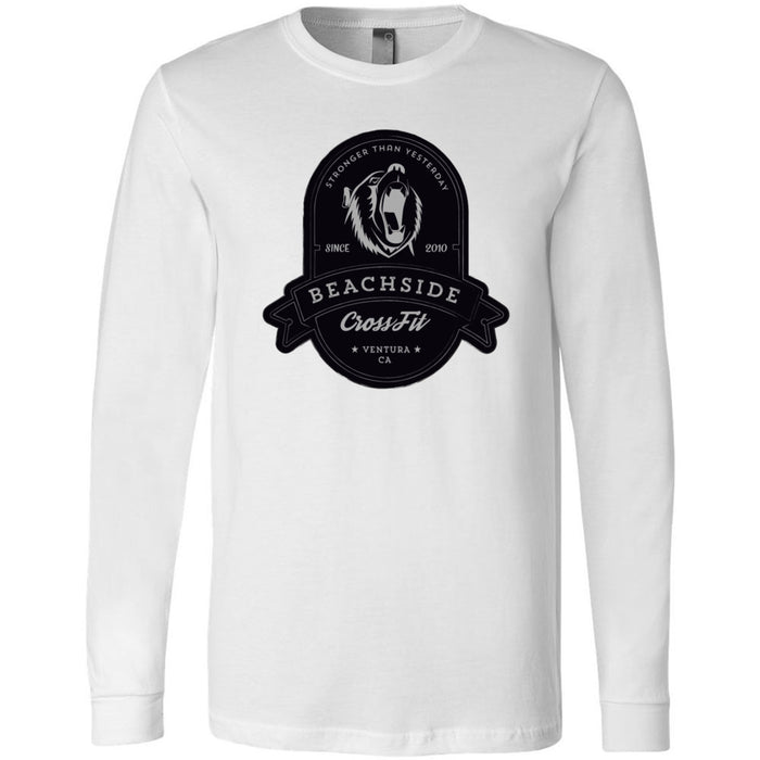 BeachSide CrossFit - 100 - Stronger Than Yesterday - Bella + Canvas 3501 - Men's Long Sleeve Jersey Tee