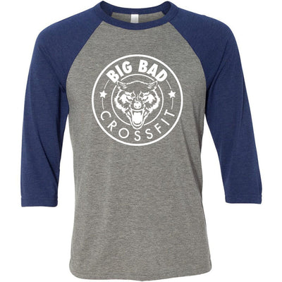 Big Bad CrossFit - 100 - Standard - Bella + Canvas - Men's Three-Quarter Sleeve Baseball T-Shirt
