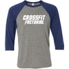 CrossFit Factorial - 100 - One Color - Bella + Canvas - Men's Three-Quarter Sleeve Baseball T-Shirt