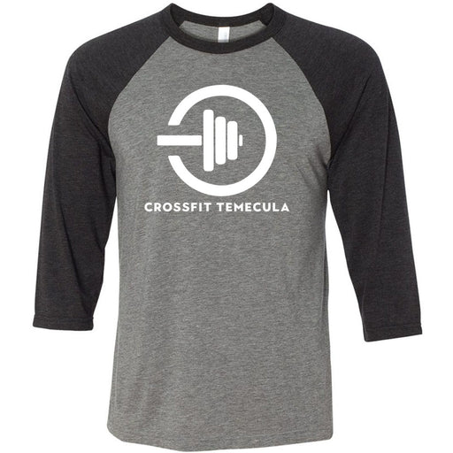 CrossFit Temecula - 100 - One Color - Bella + Canvas - Men's Three-Quarter Sleeve Baseball T-Shirt