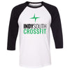 Indy South CrossFit - 100 - Standard - Bella + Canvas - Men's Three-Quarter Sleeve Baseball T-Shirt