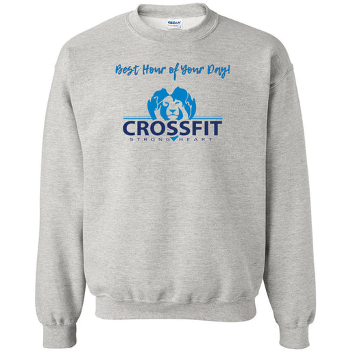 CrossFit Strong Heart - 100 - Best Hour of Your Day - Gildan - Heavy Blend Crewneck Sweatshirt