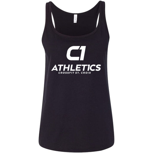 CrossFit St. Croix - 100 - Stacked White - Bella + Canvas - Women's Relaxed Jersey Tank