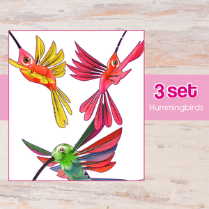 Hummingbirds 3 Set Alebrije Oaxacan Wood Carving - Alebrije Huichol Mexican Folk art magiamexica.com