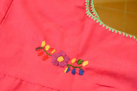 Image of Embroidered Mexican Dress | Pink - Alebrije Huichol Mexican Folk art magiamexica.com