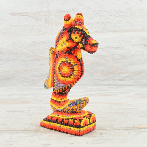 Huichol Art Beaded Animals Seahorse - Magia Mexica