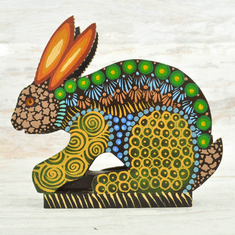 Image of Rabbit Napkin Holder - Alebrije Huichol Mexican Folk art magiamexica.com