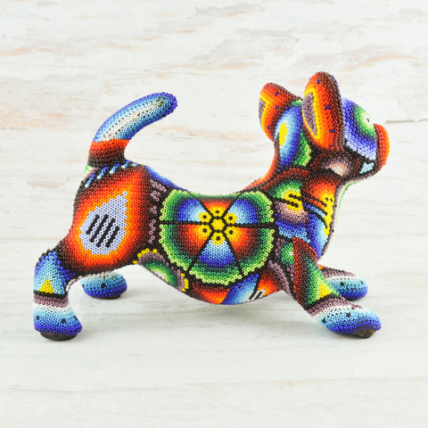 Image of Dog Huichol Art - Alebrije Huichol Mexican Folk art magiamexica.com