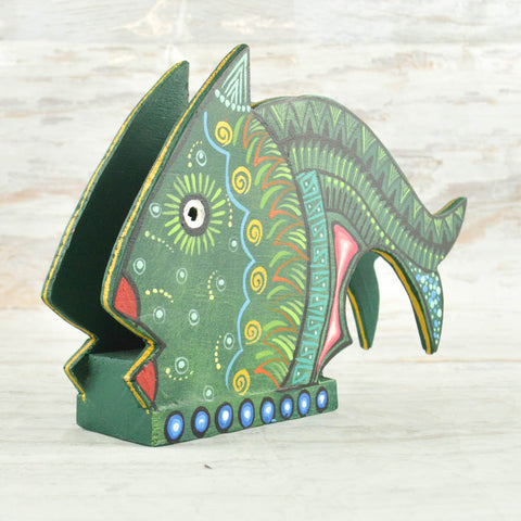 Image of Fish Napkin Holder - Alebrije Huichol Mexican Folk art magiamexica.com