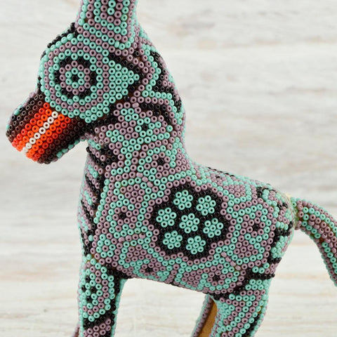 Image of Huichol Art Beaded Animals Donkey - Magia Mexica