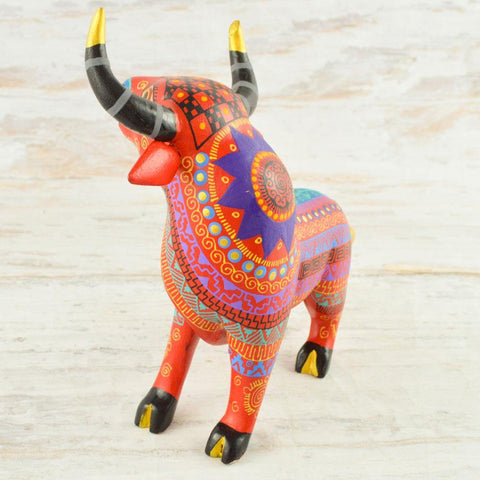 Image of Alebrije Oaxacan Wood Carving Bull - Magia Mexica