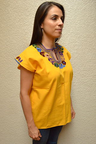 Embroidered Mexican Blouse | Yellow - Alebrije Huichol Mexican Folk art magiamexica.com