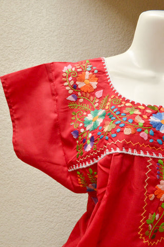 Embroidered Mexican Dress | Burgundy - Alebrije Huichol Mexican Folk art magiamexica.com