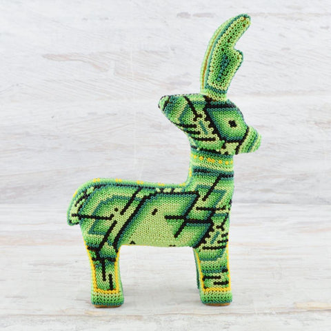 Huichol Art Beaded Animals Reindeer - Magia Mexica