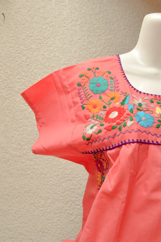 Image of Embroidered Mexican Dress | Strawberry - Alebrije Huichol Mexican Folk art magiamexica.com