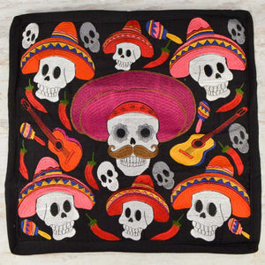 Embroidered Pillow Cover | Black 2 - Magia Mexica