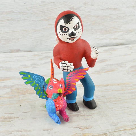 Image of Alebrije Oaxacan Wood Carving Set Pepita and Dante - Magia Mexica